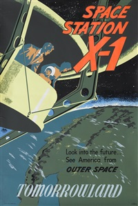 a disneyland space station x-1 attraction poster by bjorn aronson