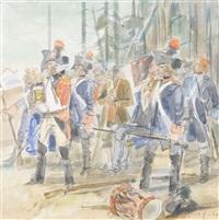 französische soldaten mit bajonetten by friedrich traffelet