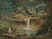 waldidyll mit wasserfall, kleinem teich und passanten by pierre louis bouvier