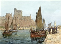 fishing boats in peel harbour, isle of man by john ernest aitken