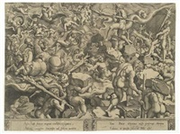 der kampf der giganten (after giulio romano) by cornelis bos