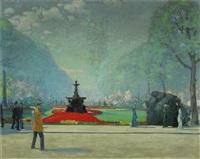 impressionistische parkansicht (möglicherweise in warschau) mit flanierenden damen und herren by ernst dorn
