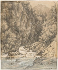 reissender gebirgsbach (+ blick in ein alpental, verso) by julius jacob the elder