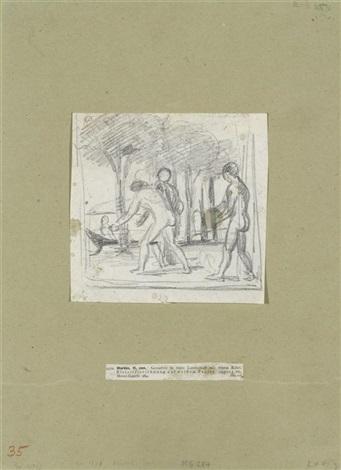 junge männer in einer landschaft mit einem kahn by hans von marées