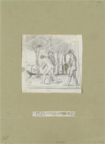 junge männer in einer landschaft mit einem kahn by hans von marees