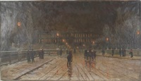 nighttime city scene with leisurely strolling people by w. livingston anderson