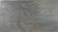 landscape with large tree and figures by w. livingston anderson
