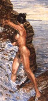 stehender weiblicher akt in den klippen by hans steiner