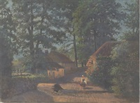 small woodland cottages with female figure by w. livingston anderson
