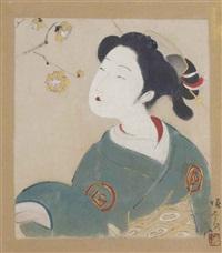 a bijin admiring plum blossom by tsunetomi kitano