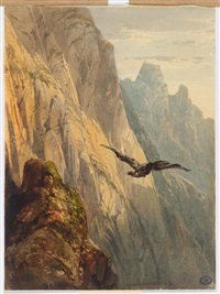 eagle circling before a cliff face by alexandre calame
