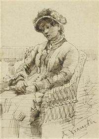 frau in einem korbstuhl sitzend; lesende frau in einem sessel (2 works) by alberto vianelli