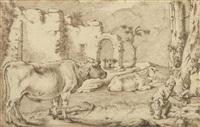 landschaft mit tieren, ruinen und einem knaben by sinibaldo scorza