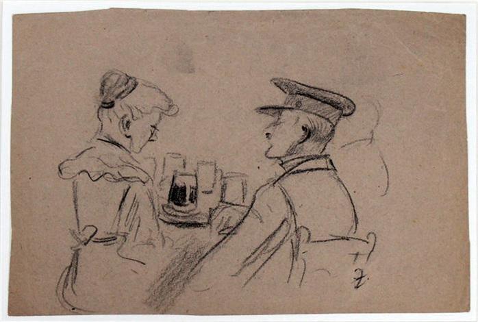 An einem Tisch sitzendes Paar mit Getränken by Heinrich Zille on artnet