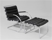lounge sessel mit hocker, modell mr40 by ludwig mies van der rohe