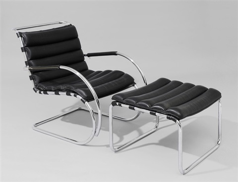 Lounge Sessel Mit Hocker Modell Mr40 By Ludwig Mies Van Der Rohe On