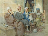 vier orientalen vor einem kaffeehaus in kairo by tony binder