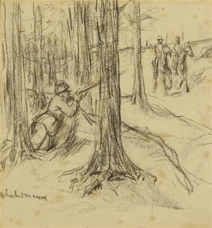 drei soldaten am waldrand by max liebermann