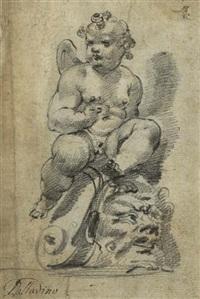 auf einem groteskenkopf thronender putto (+ frauenstudie, verso) by adriano zabarelli