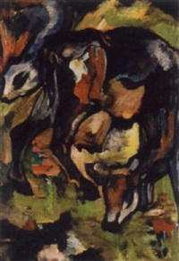 zwei kühe auf der weide by julo levin