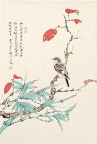 红叶秋禽 by ren zhong