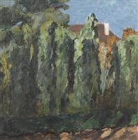 landschaftspartie mit bäumen und haus by martin lauterburg