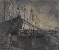 hafen mit segelschiffen by walter krebs