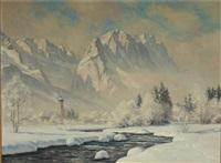 wintermorgen in garmisch m. wetterstein by erwin kettemann