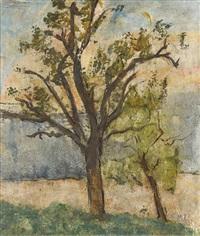 landschaftspartie mit zwei bäumen by martin lauterburg