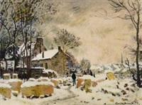 雪中风景 by claude monet