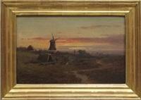 pendants: landschaft mit windmühle in der abendröte und blick von anhöhe auf kleinstatd in talsohle by duncan cameron