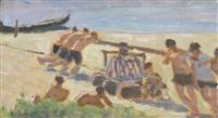 belebte strandpartie by wladimir g. krikhatzkij