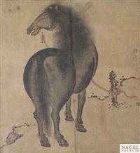 albumblatt mit feiner darstellung eines stehenden pferdes by anonymous-chinese (18)