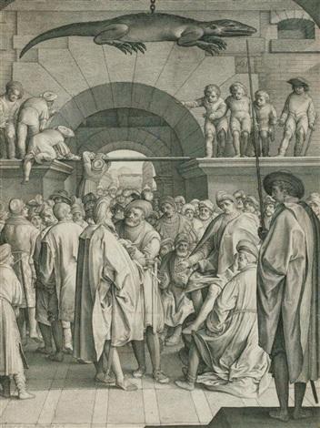 versammlung von männern darüber ein aufgehängtes krokodil by nicolaes de bruyn