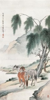 柳荫双骏 by ma jin