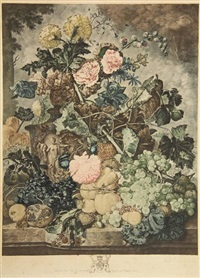 a flower piece (after j. van huysum) (+ a fruit piece; 2 works) by richard earlom