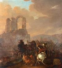 kavalleristrid i ruinlandskap by herman van lin