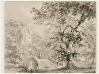 waldlandschaft mit burgruine und mit bauernfamilie auf einer brücke by paul van liender