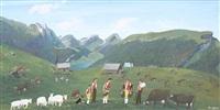 appenzeller landschaft mit glockenträgern und kuhherde by christian vetsch