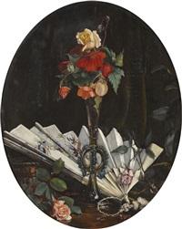 stillleben mit rosen und fächer by alfred weber