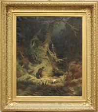 wanderer in einer waldschlucht by carl julius e. ludwig