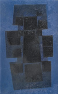 abstrakte komposition in blau und schwarz by claude loewer