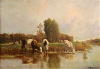 cattle watering in a polder landscape by johan van gesine