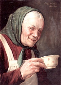 a portrait of a bavarian woman drinking tea by fritz müller