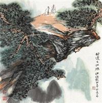 松塬论道 立轴 设色纸本 by he haixia
