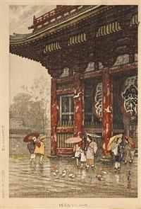 asakusa kannon yu no zu, asakusa kannon in rain by g.t. yokouchi