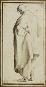 rückenansicht eines stehenden manns im mantel by johann heinrich lips