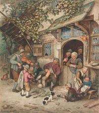 vioolspeler voor herberg (after a. van ostade) by cornelis (jacob c.) ploos van amstel