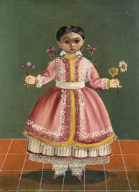 mädchen im roten kleid mit blumen by agapito labios