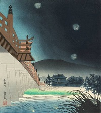 untitled (from the series keiraku jugokei, fifteen views of kyoto; 15 works, folio) by tomikichiro tokuriki